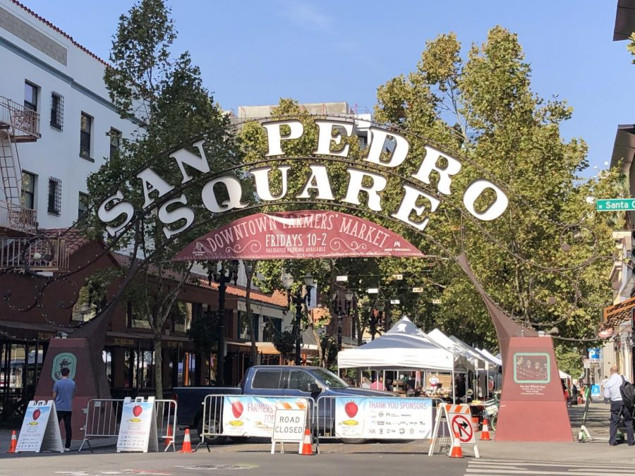 The San Pedro Square sign welcomes would be farmers market patrons to the area.