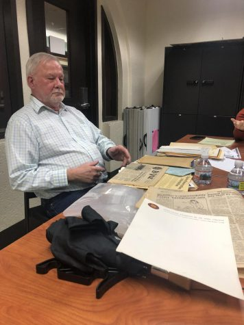 Phillip Plymale brings documents from the Senate's history to show current Senators as he recalls the De Anza Student Body's history.
