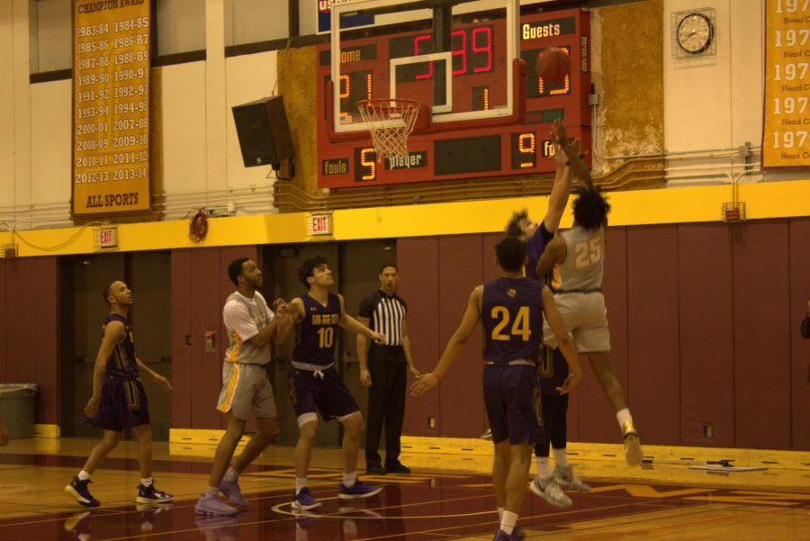 Aaron Tomlinson, 20, psychology major going up for a contested against San Jose City College on Jan. 15.