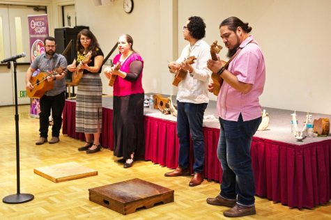 Members of Día Pa Son ensemble play music from Veracruz, Mexico at the Son Jarocho event in Hinson Campus Center Conference Room B on Feb. 11.
