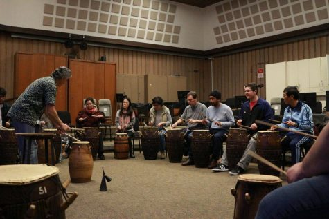 Ron Dunn, music instructor teaches West African drumming styles to De Anza students