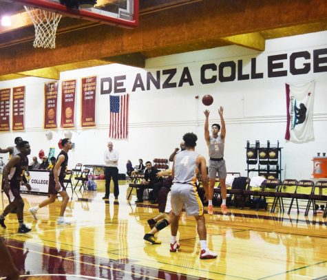 John Vergara, 20, kinesiology major taking a three-point shot on Feb. 21 against Hartnell College.