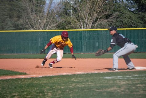 Anthony Sortino, 20, liberal arts major, runs back towards first base in a 14-1 loss on March 3 against Mission College.