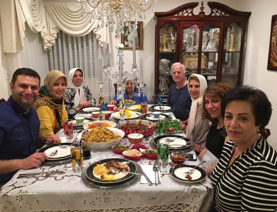 Professor Dada and her loved ones eating together for eftar.