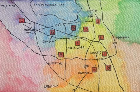 A map of the locations for various food pantries in the south bay.