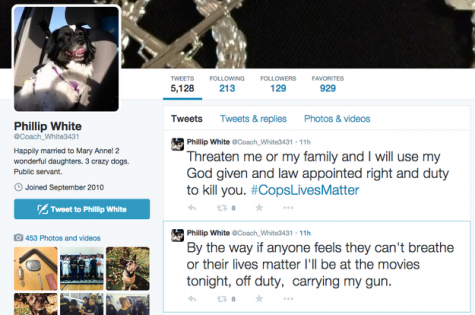 Phillip White's twitter statements against the Black Lives Matter movement in December 2014