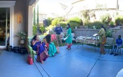 Masks and separate food trays allowed us to gather in a backyard.