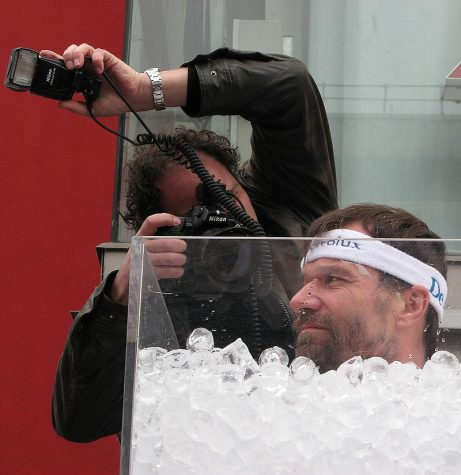 "The Wim Hof breathing method is named for its creator Wim Hof, commonly known as ""The Iceman"". Hof is seen here submerging himself in a tub of ice."