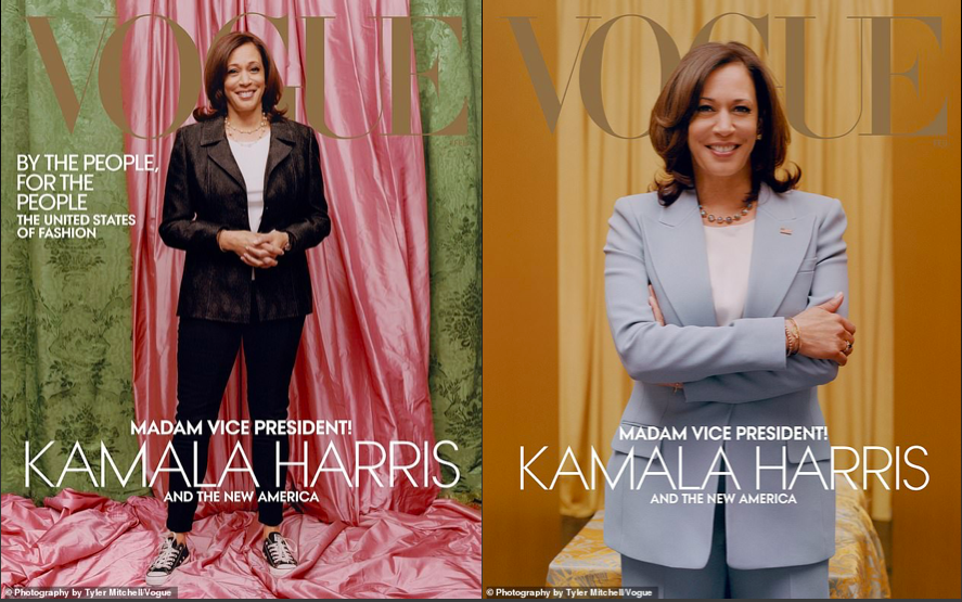 (Left) The cover Vogue published, (Right) The cover Harris' team approved