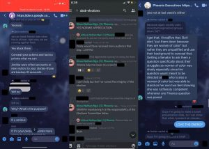 Screenshots of Messenger and Discord chats with Khoa-Nathan Ngo. They were submitted to the DASB as evidence of