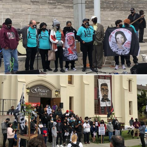 "(Above) Members of ""Families Taking Power"" standing with Silicon Valley NAACP at San Jose City Hall. (Below) Vigil for George Floyd at Grace Baptist Church"