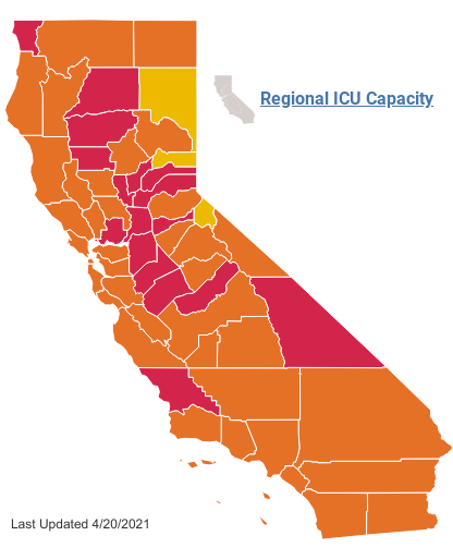 Map showing the state of various counties throughout California. As of 4/20, the majority of counties are in orange, the second-to-lowest tier. Nevertheless, we still need to remain cautious.