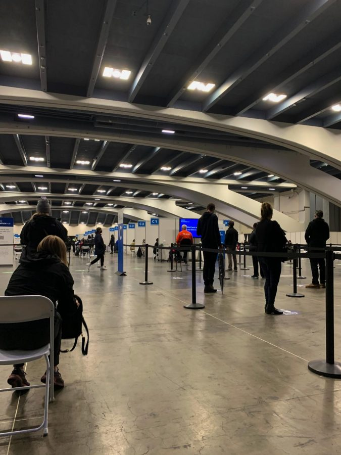 A view inside the vaccination hub at the Moscone Center in South San Francisco.