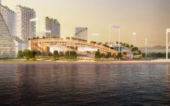 Artist rendering of the proposed ballpark at Oakland's Howard Terminal site. Source: Oakland A's