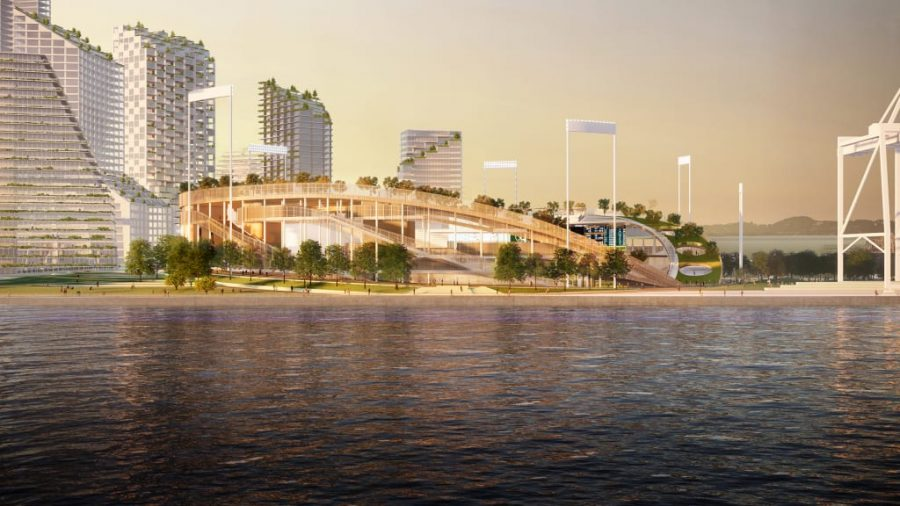Artist rendering of the proposed ballpark at Oaklands Howard Terminal site. Source: Oakland As