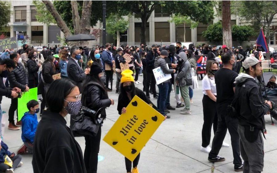 Protestors at Stop Asian Hate
