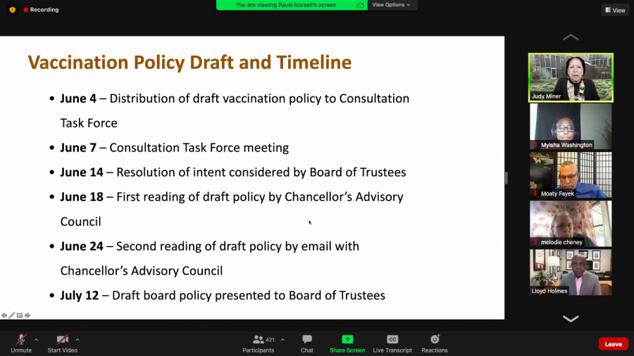 Chancellor Judy Miner discusses district-wide vaccination policy timeline.