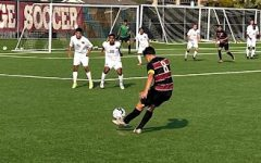 Captain Diego Delgadillo Aguirre kicking a free kick in the 1-0 home win game on Sept. 24.