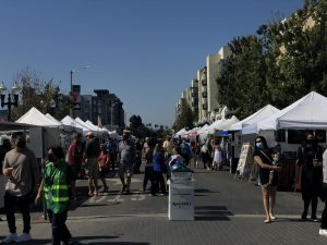 A large variety of vendor booths at the Sunnyvale Art and Wine Festival.